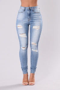 No Need To Pretend Jeans - Light Blue Angle 1