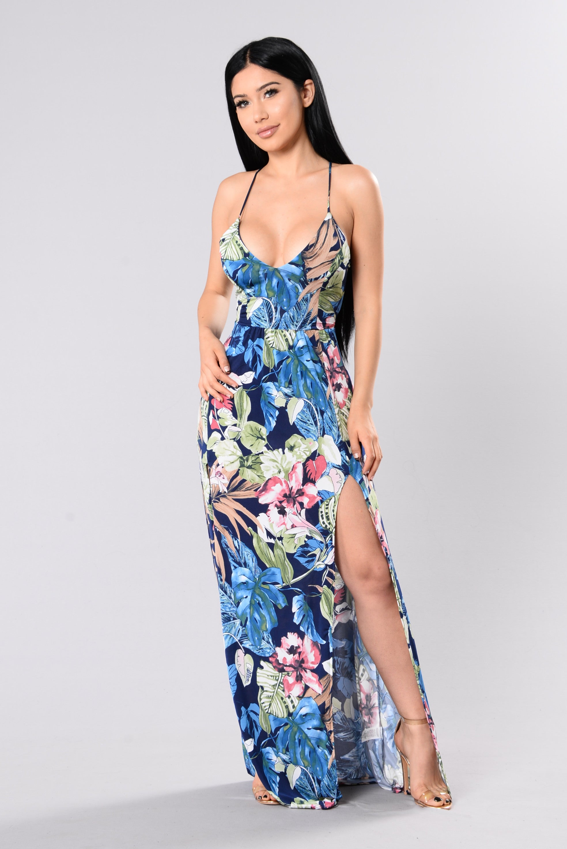 Greetings From Hawaii Dress Navyfloral