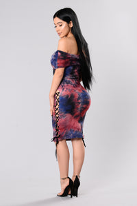 Hands In The Air Dress - Blue/Red