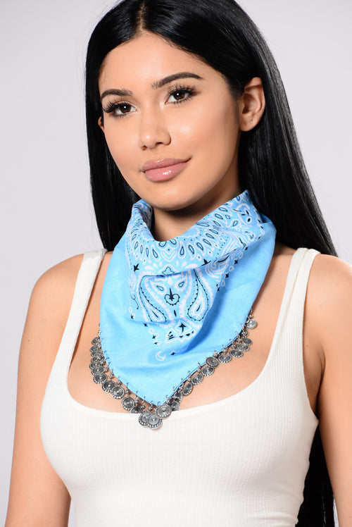 Sahara Desert Bandana Necklace - Baby Blue