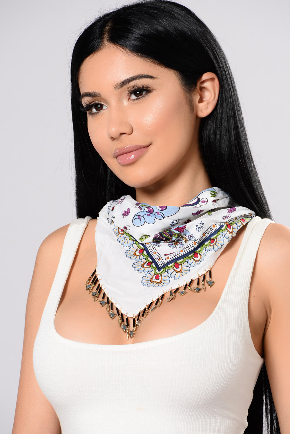 Gypsy Trip Bandana Necklace - White