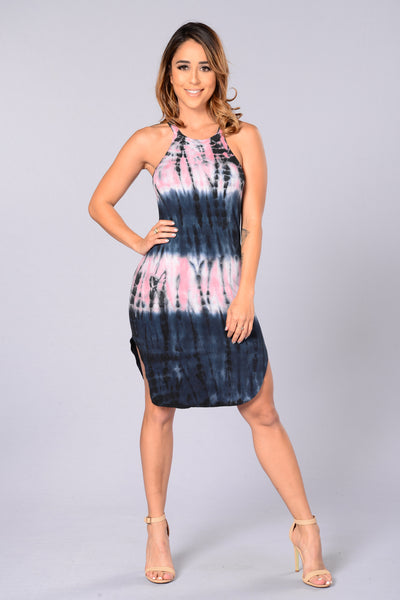 Marley Dress - Navy/Pink
