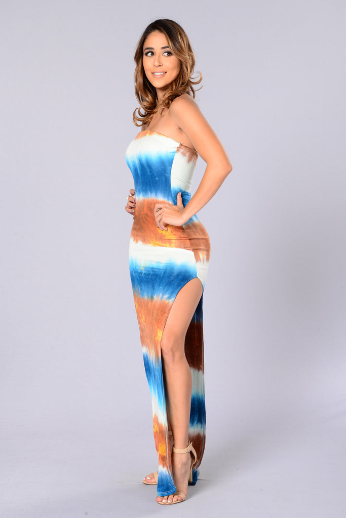 Deep Sea Dress - Blue/Rust
