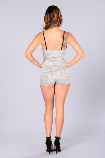 Raw as Hell Romper - Heather Grey