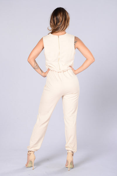 We Run This Jumpsuit - Nude