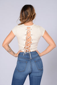 Lace Me Up Top - Oatmeal