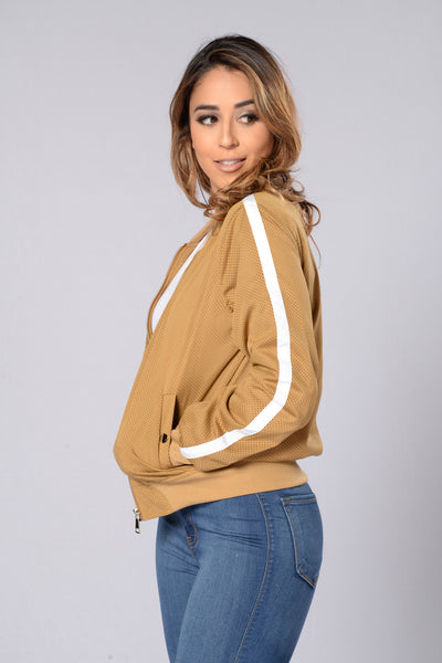 Good Sport Bomber Jacket - Khaki/White