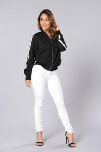Good Sport Bomber Jacket - Black/White