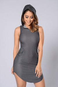 Too Cool Hooded Dress - Grey