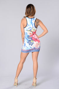 Flower Me Not Dress - Blue (hide)