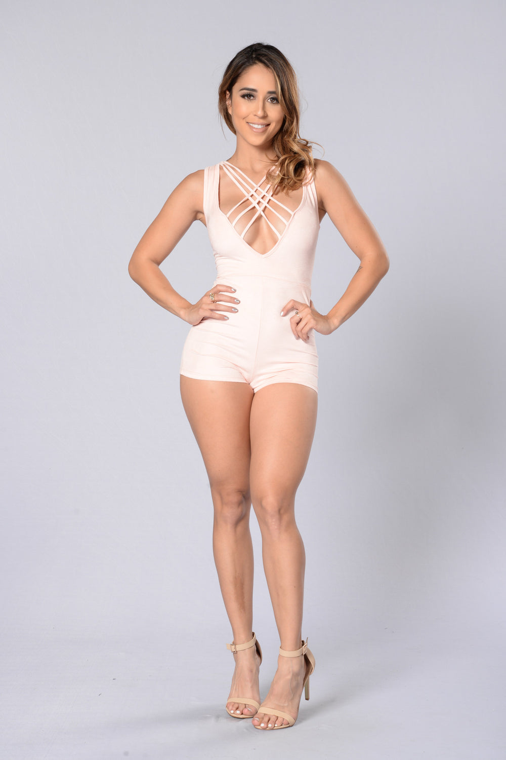 Kiss And Tell Romper - Blush