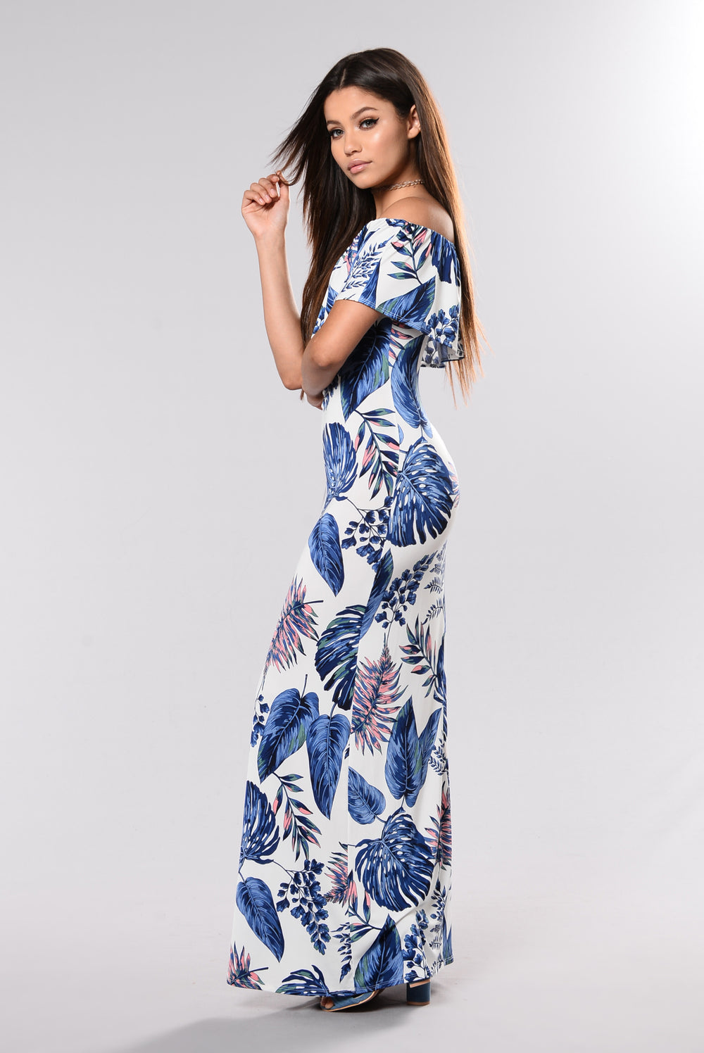 I Love Trouble Dress - Blue Palm