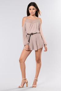 In The Car Cold Shoulder Romper - Taupe Angle 2