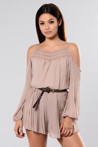 In The Car Cold Shoulder Romper - Taupe Angle 1