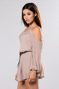 In The Car Cold Shoulder Romper - Taupe Angle 5