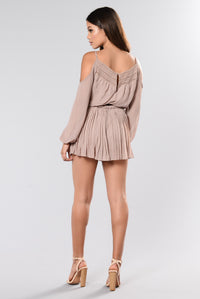 In The Car Cold Shoulder Romper - Taupe Angle 6