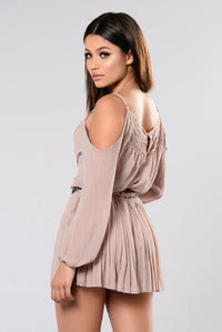 In The Car Cold Shoulder Romper - Taupe Angle 3