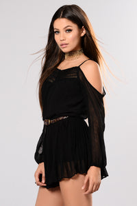 In The Car Cold Shoulder Romper - Black