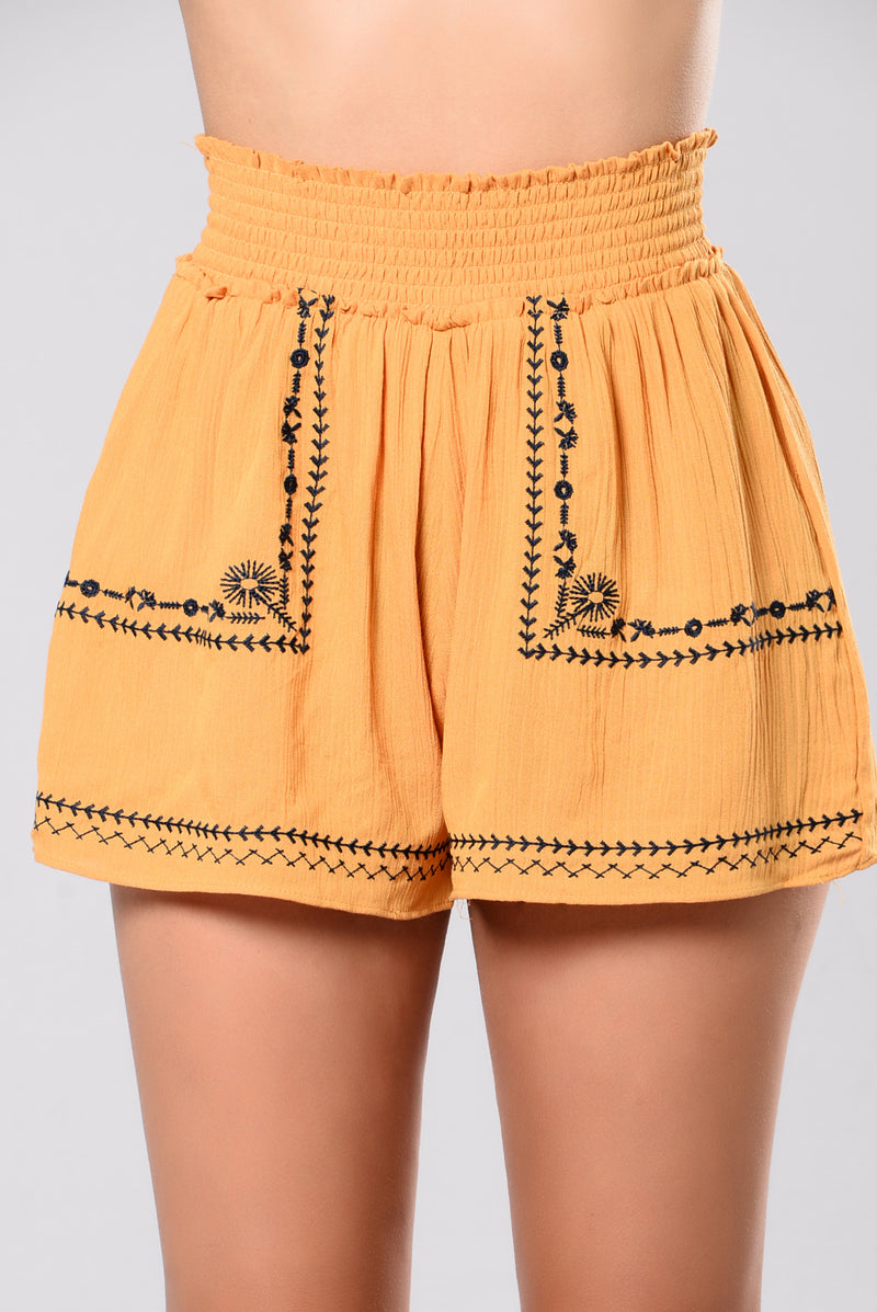 Betty High Rise Shorts - Mustard
