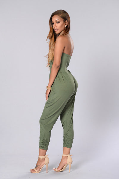 I Got You Babe Jumpsuit - Olive