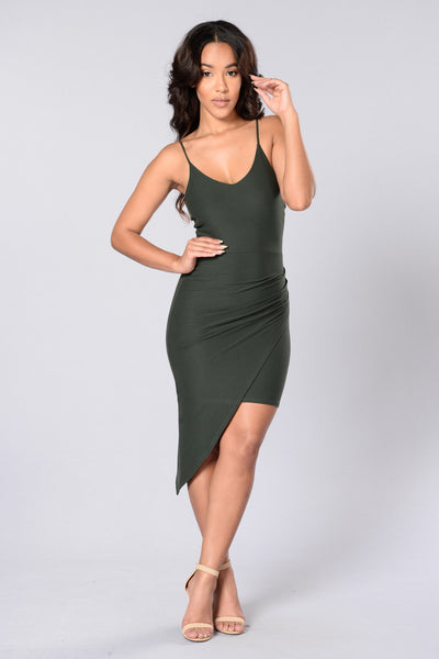 Girls Just Wanna Have Fun Dress - Olive