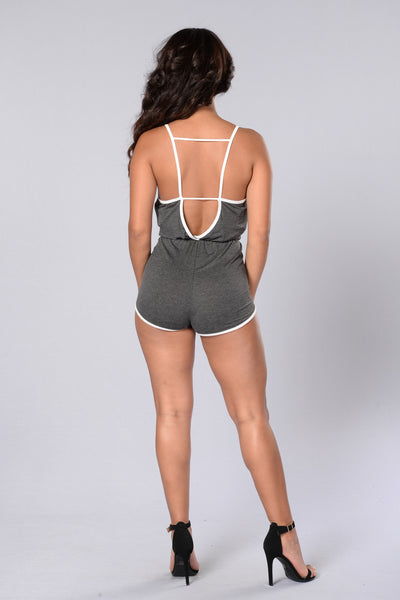 Team Player Romper - Charcoal/White