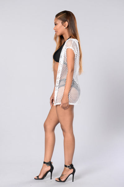 Hot Mesh Cover Up - White