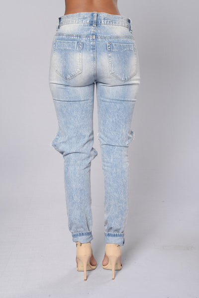 Rough Rider Slim Boyfriend Jeans - Light Stone