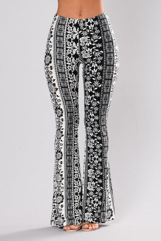 Eloquence Bell Bottom Pants - Black/White