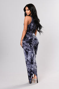 Cicado Tie Dye Dress - Navy