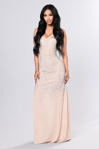 Showstopper Rhinestone Gown - Nude