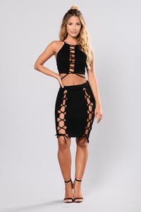 Lace It Up Skirt - Black