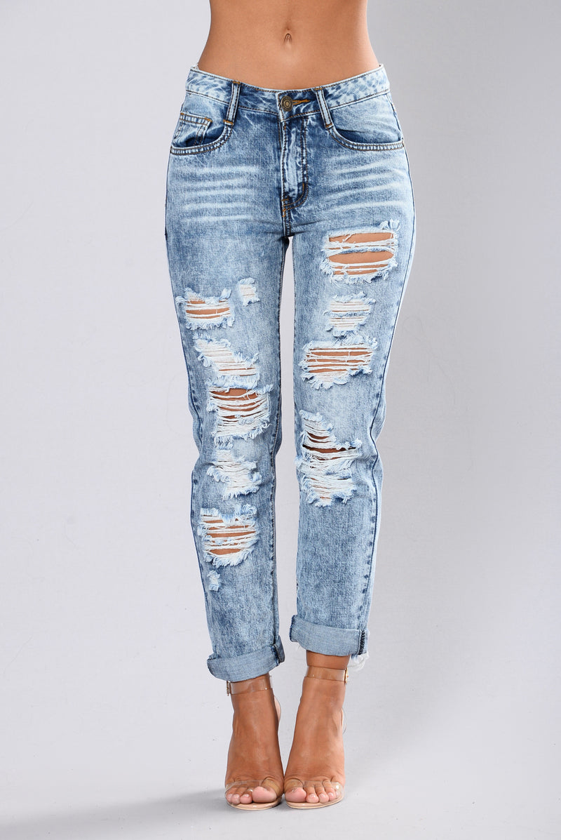Midnight Bliss Distress Jean - Medium