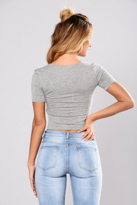 Kayla Crop Top - Heather Grey