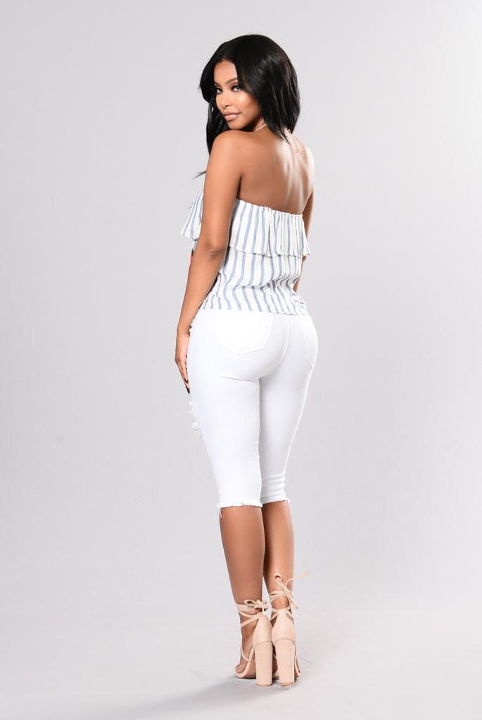 Stripe It Up Top - White/Blue