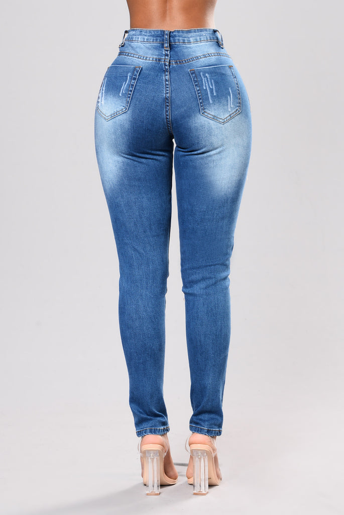 Janessica Distressed Jeans - Blue