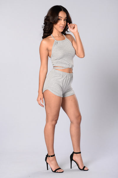 Not Your Babe Crop Top - Heather Grey