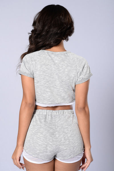 In It To Win It Shorts - Heather Grey