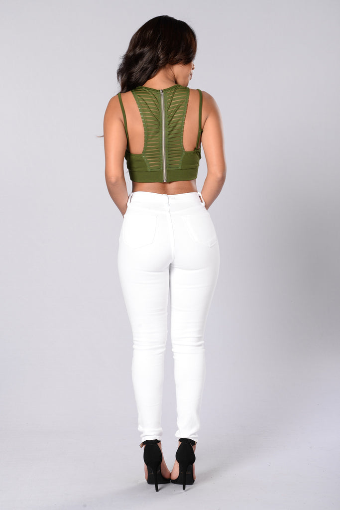 Remix Crop Top - Olive
