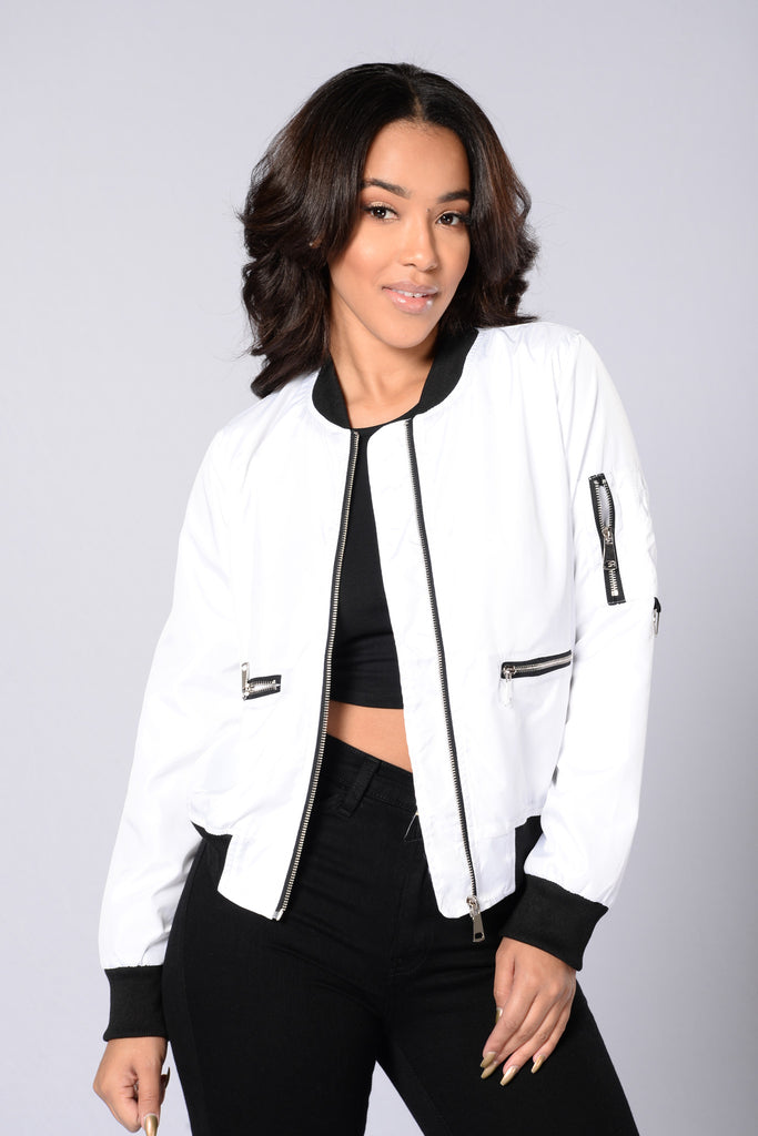 Me Against The World Bomber Jacket - White