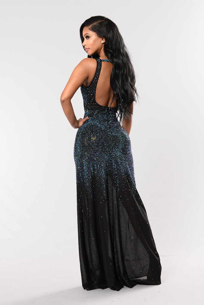 Showstopper Rhinestone Gown - Black