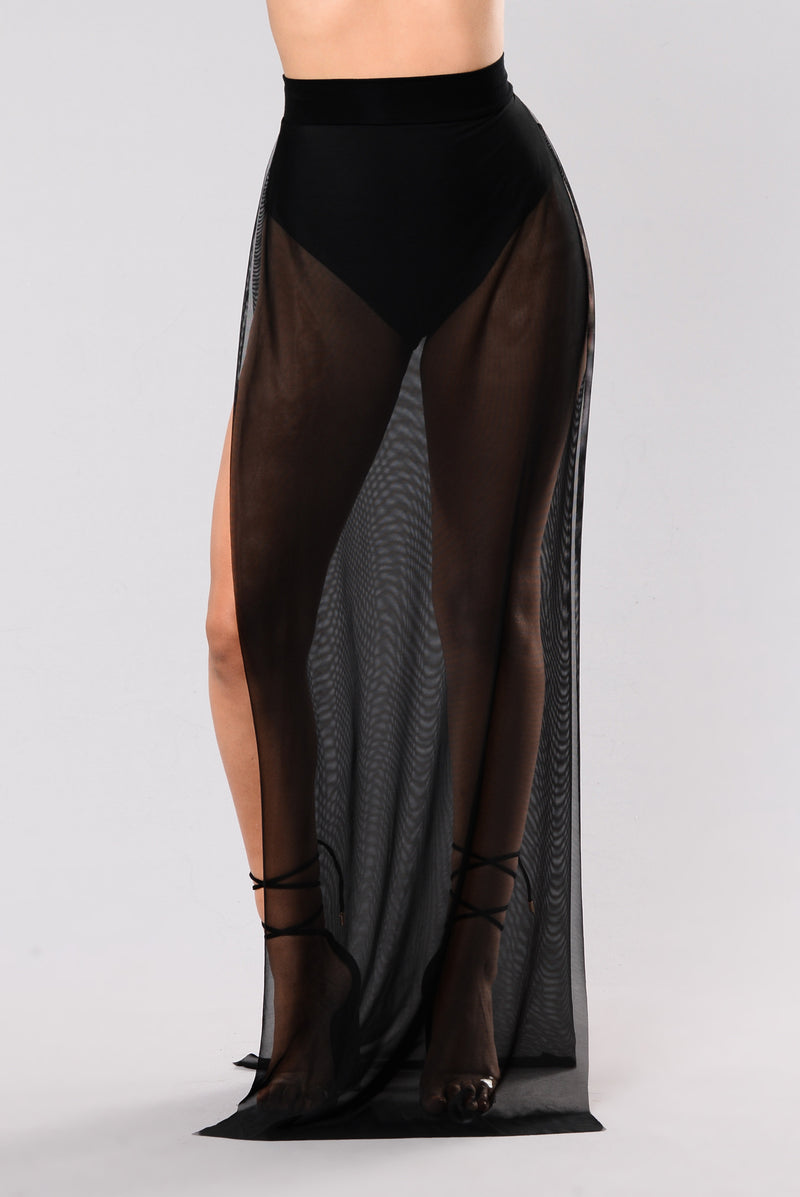Open Mind Mesh Maxi Skirt - Black