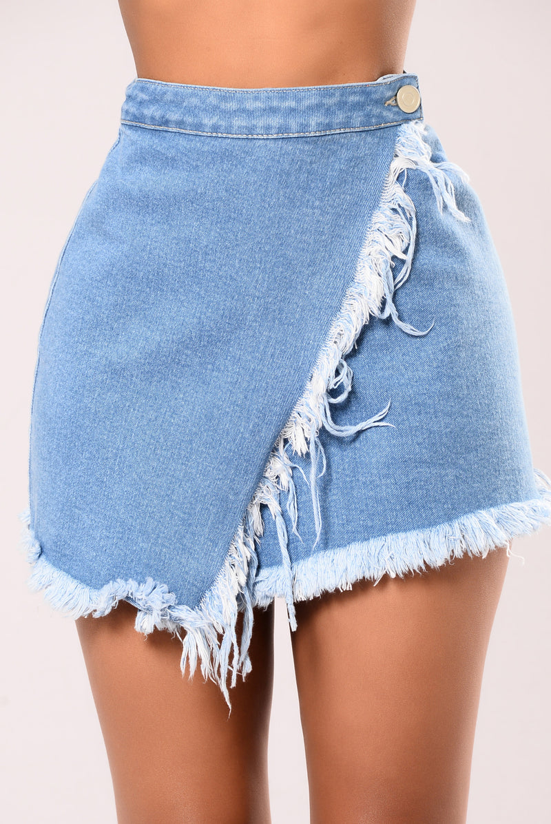 Denim Slayer Skirt - Light Stone Wash