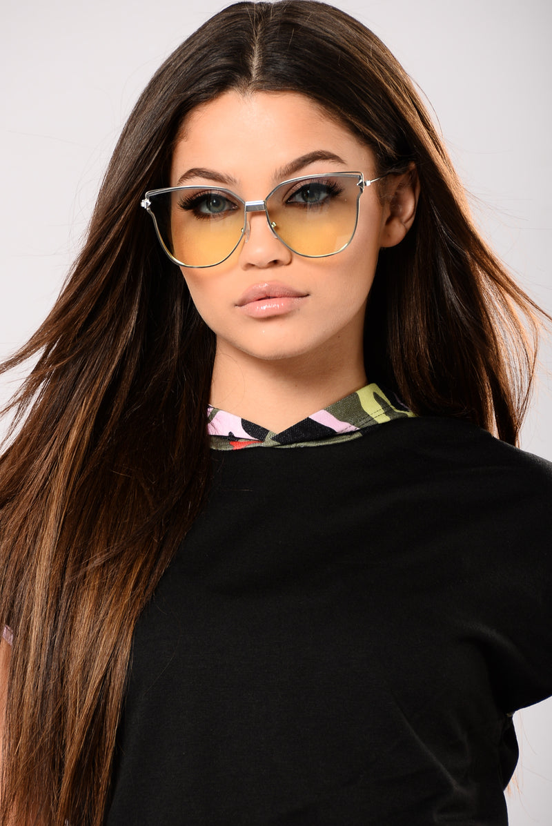 Amalia Sunglasses - Silver/Yellow