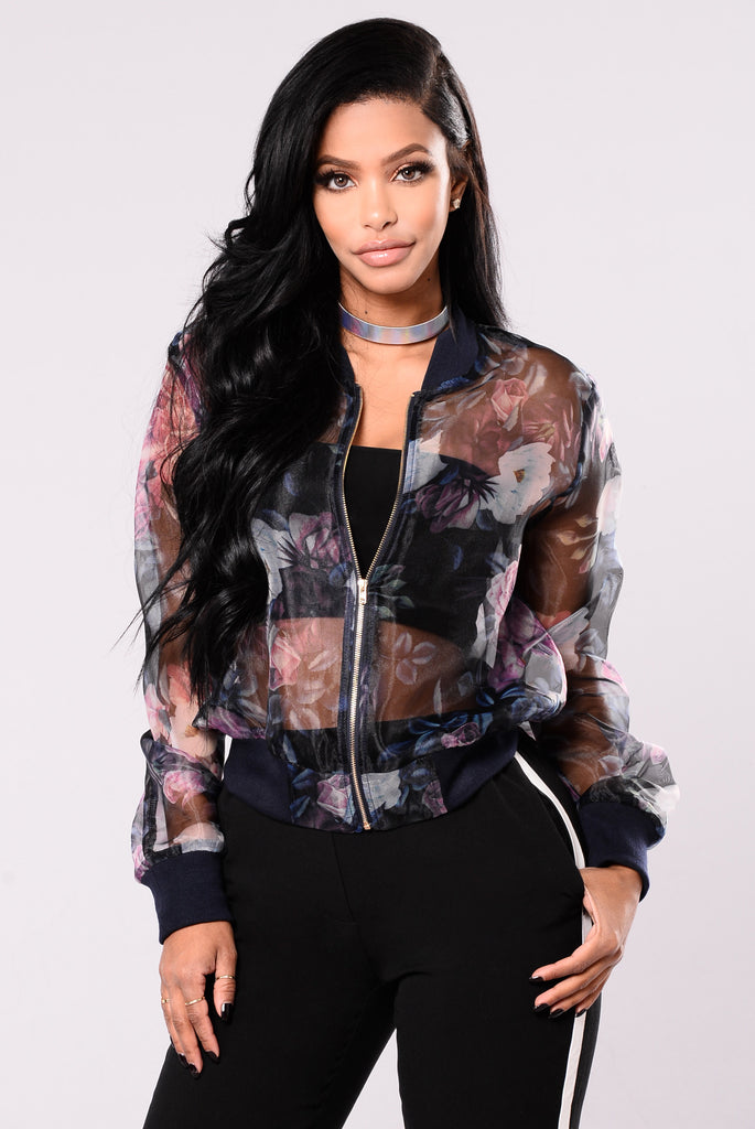 Show Me Off Bomber - Navy/Floral