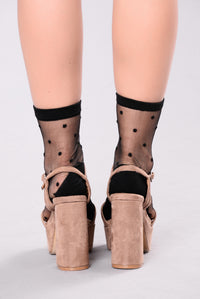 Polka Dot Mesh Sock - Black