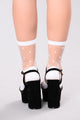 Polka Dot Mesh Sock - White