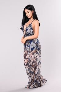 Beneath The Flower Jumpsuit - Navy