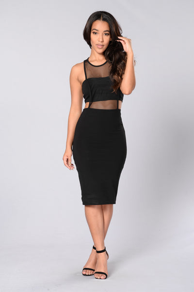 Mesh Appeal Dress - Black