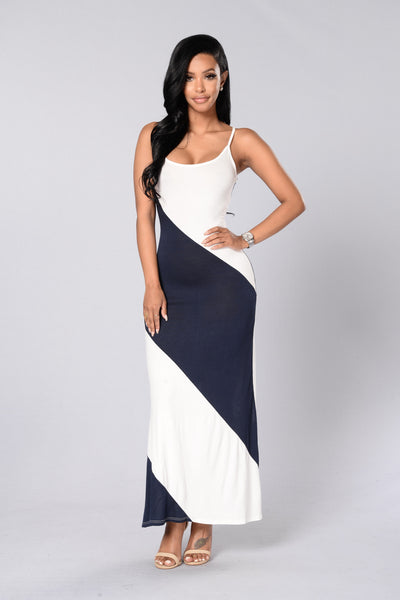 Diagonal Stripe Maxi Dress - Ivory/Navy